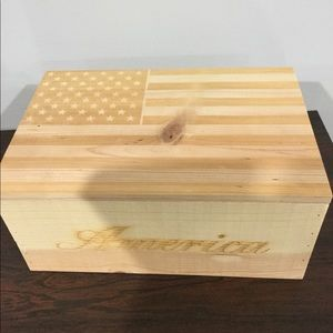 """Other - Wooden """"America"""" box with flag print on lid"""